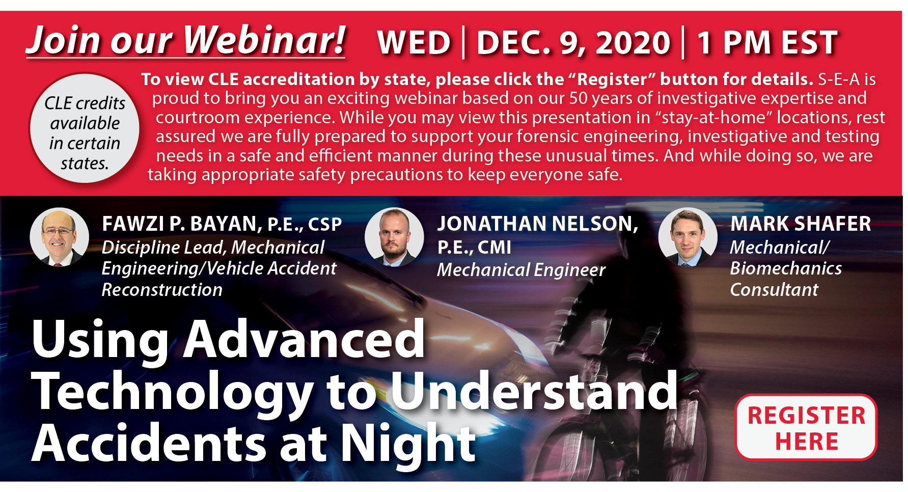 Join us for a Webinar on Using Advanced Technology to Understand Accidents at Night