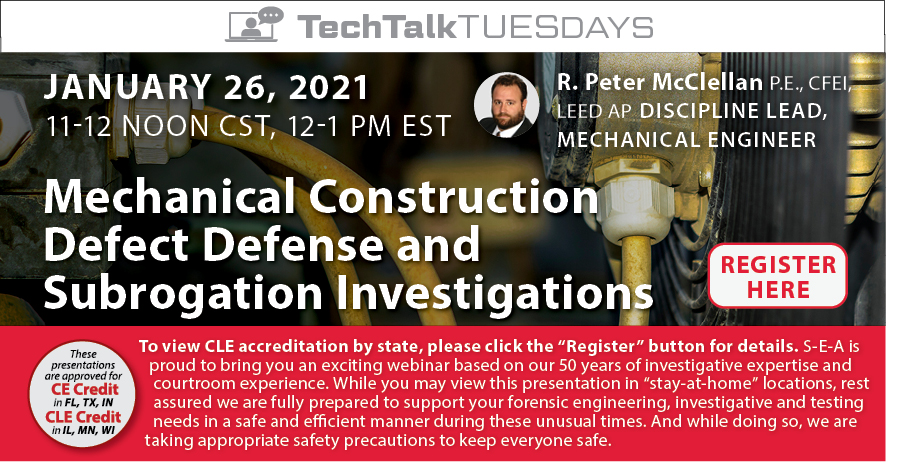 Join us for a Webinar on Mechanical Construction Defect!